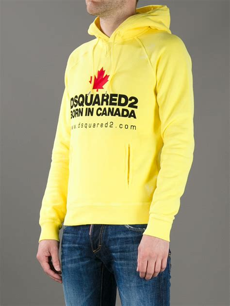 Hoodie Yellow Claw 06 lyst dsquared 178 logo print hoodie in yellow for