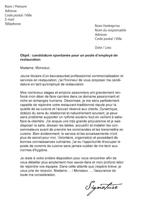 Exemple Lettre De Recommandation Restauration Lettre De Motivation Employ 233 De Restauration Mod 232 Le De Lettre