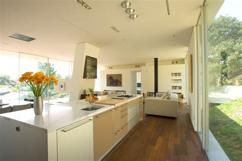 Kitchen open plan living space modern residence in beverly hills