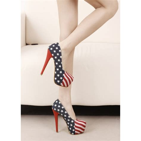 american flag usa platform high heel denim court shoes