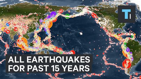 earthquake year animated map all earthquakes of the past 15 years youtube