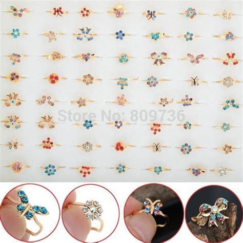 pcs gold tone assorted design crystal ring cute kid