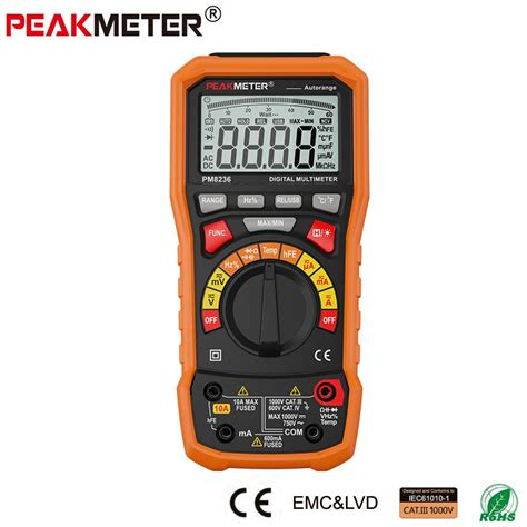 Multitester Usb official peakmeter pm8236 auto manual range digital multimeter with trms 1000v temperature
