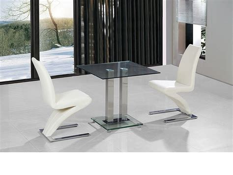 Glass Dining Table For 2 Small Clear Glass Dining Table And 2 Faux Chairs In