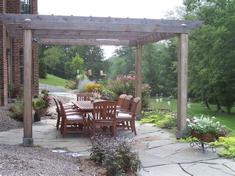Flagstone Patio With Pergola by Patio With Cedar Pergola Traditional