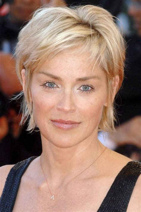 sharon stone short hair on round face best medium hairstyle sharon stone hairstyles best