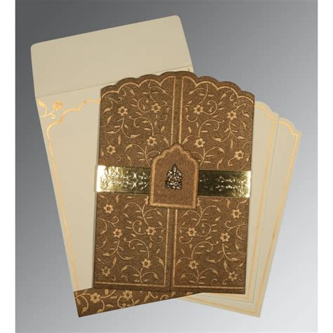 Handmade Indian Wedding Cards - brown handmade shimmer floral themed embossed wedding