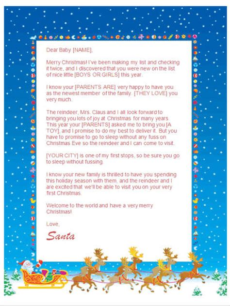 printable baby s first christmas letter from santa babys first christmas letter from santa sleigh design