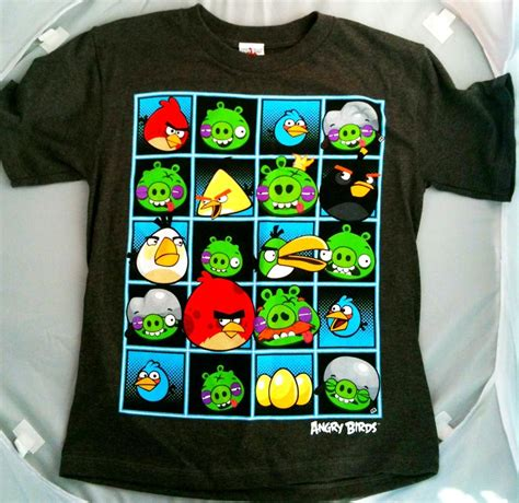Tshirt Angry Brids 2 angry birds t shirt boys youth sleeve on grey shirt choose size ebay