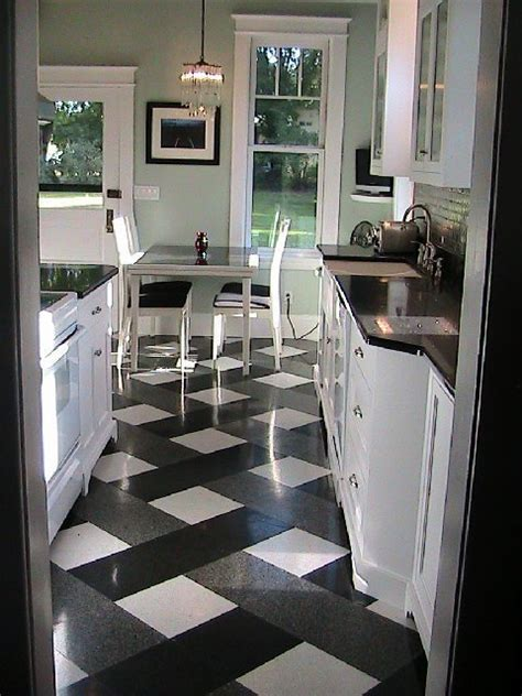 White Tile Kitchen Floor What Color Go With A Black And White Tile Kitchen Floor On Aol Answers