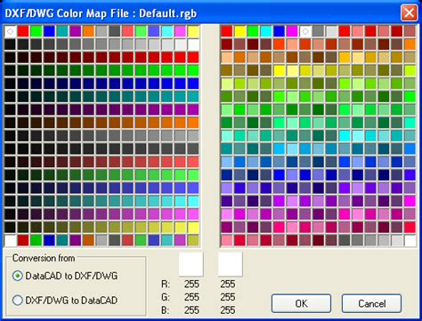 rgb color table forum datacad view topic export to dwg default