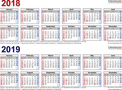 Kalender 2018 And 2019 2018 2019 Calendar Free Printable Two Year Pdf Calendars