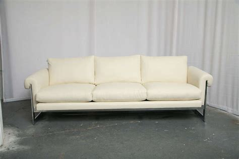 metal frame sofa white leather sofa with chromed metal frame for sale at