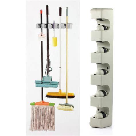 Broom Mop Organizer Rack by 5 Rack Home Kitchen Mop Broom Holder Wall Mounted Organizer Storage Hanger Tools Ebay