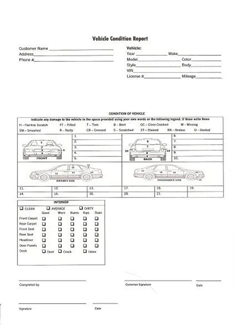 truck condition report template vehicle condition report images