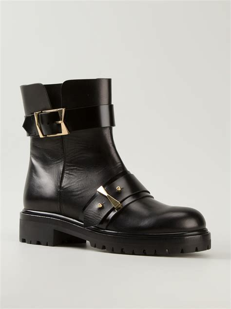 mcqueen boots mcqueen buckled boots in black lyst