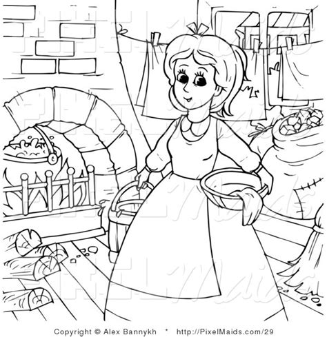 house chores coloring pages clipart of a coloring page outline of cinderella doing