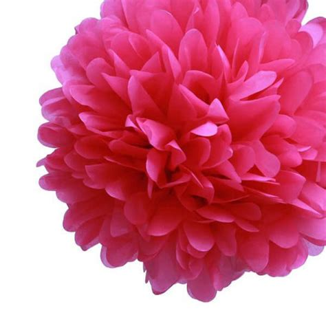 Paper Pom Poms - 4 tissue paper pom poms fuchsia 20in