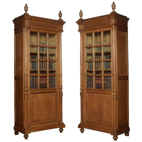 pair of tall oak bookcases for sale at 1stdibs