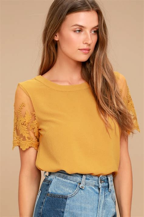 Top Mustard chic mustard yellow top embroidered top sleeve top