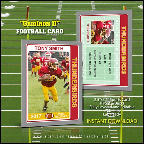 Football Card Template by 2017 Football Card Template For Photoshop Easily Change