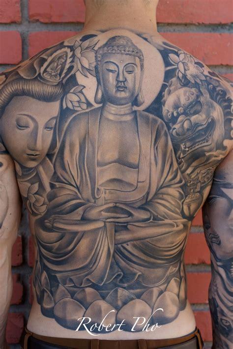 japanese back tattoos for men grey ink buddha back for