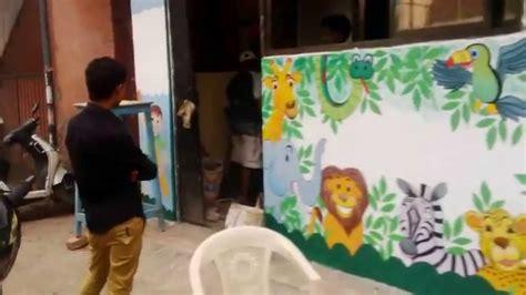 painting in school preschool outside wall theme painting mumbai india
