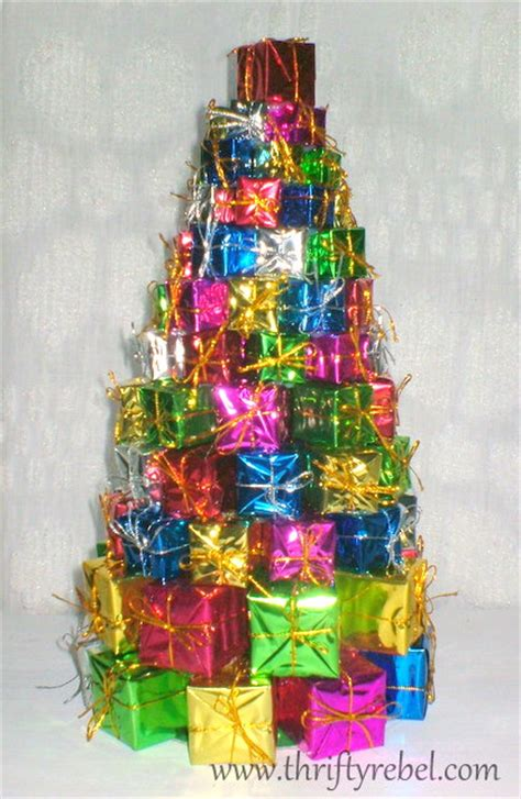 dollar store christmas tree of presents thrifty rebel