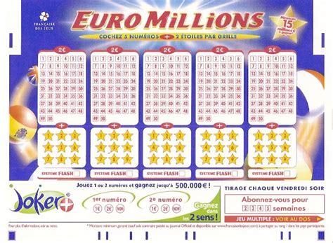 Euromillion Grille grille millions de la
