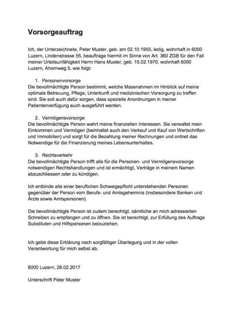 Muster Vorsorgeauftrag Schweiz Vorsorgeauftrag Muster Vorlage Muster Und Vorlagen Kostenlos