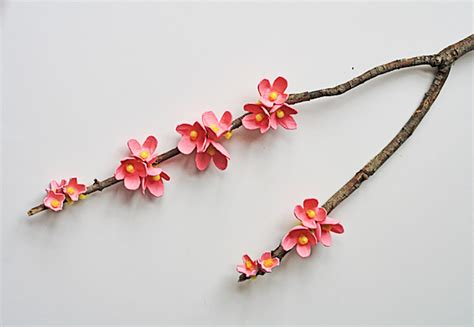 egg carton cherry blossom branch crafts by amanda