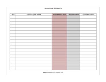 Account Balance Sheet Template by Account Balance Template