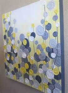 painting ideas easy yellow gray and white textured flower art 24x30 ready