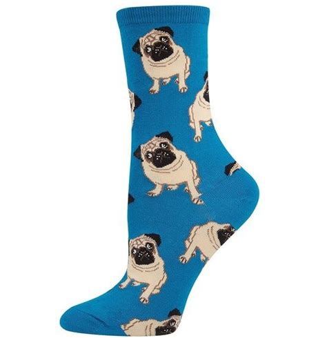 pug socks blue pug socks pug merchandise on gifts