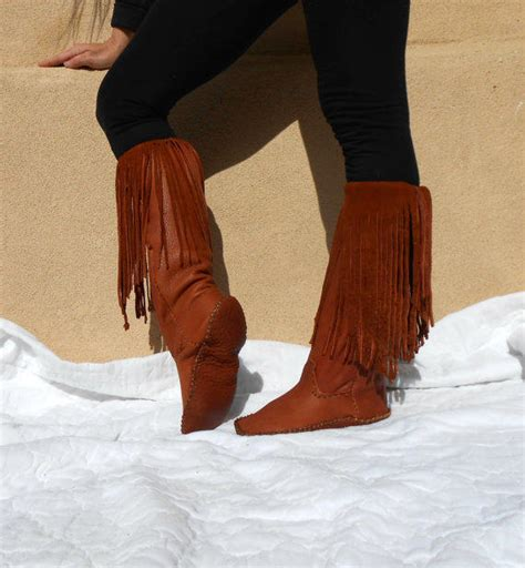 American Handmade Boots - fringe moccasin boots leather mocs from faemoon wolf