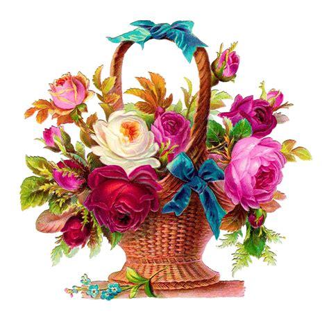 Flower Basket by Antique Images Printable Flower Basket Scrapbooking