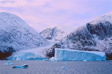 green land glacier and iceberg ofjord scoresby sund east greenland