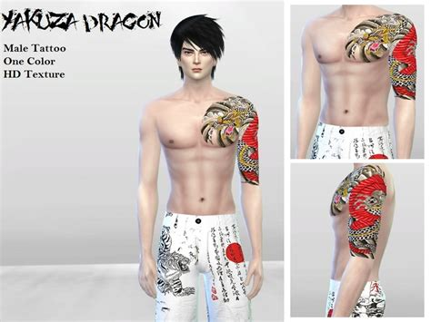 yakuza tattoo sims 4 mclaynesims tattoo003 yakuza dragon