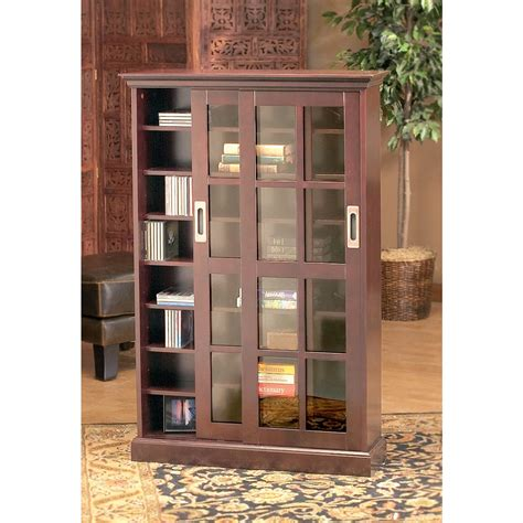 sliding door dvd storage cabinet emerson sliding door media cabinet 91220 entertainment