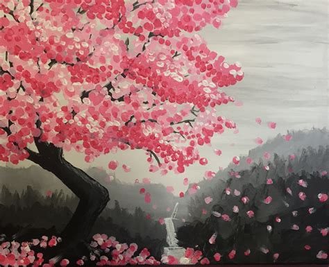 paint nite japanese cherry blossoms hashtag studio wine design painting cherry blossom
