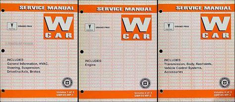 2005 pontiac grand prix service repair manual 2005 pontiac grand prix repair shop manual original 3 volume set