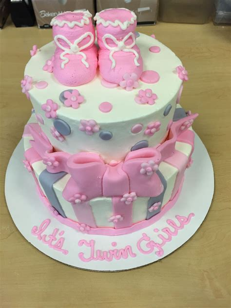 Gray And Pink Baby Shower by Pink And Gray Baby Shower Stacked Cake Cakecentral