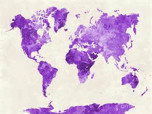 Duvet Purple World Map In Watercolor Purple Painting By Pablo Romero