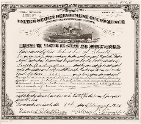steamboat inspection service charles h elwell license to master of steam and motor