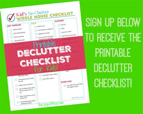 declutter house checklist printable declutter checklist for kid s clutter