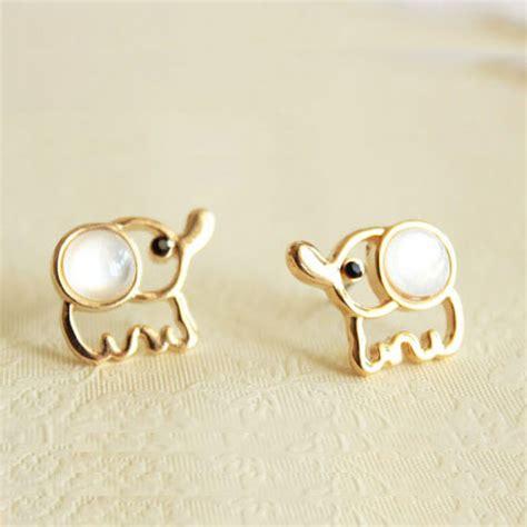 white baby elephant earrings studs on luulla