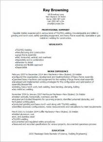 welder sle resume sle resume for welder