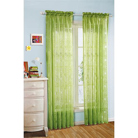 Sheer Green Curtains Your Zone Floral Burst Sheer Curtain Green Glaze Decor Walmart