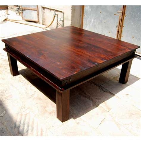 Large Square Wood Coffee Table Rustic Large Square Coffee Table Solid Wood Cocktail Table Furniture