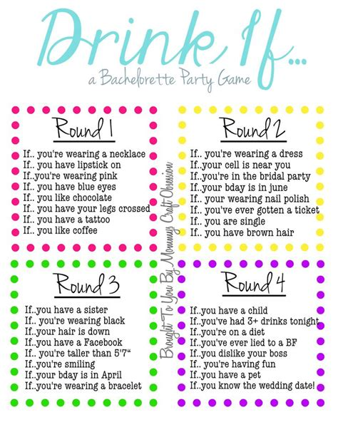 printable party games free drink if a bachelorette party game free printable
